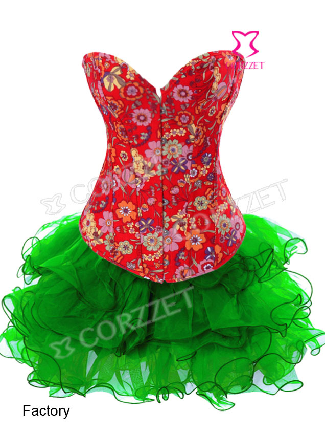 2829S# Red Floral Printed Denim Corset with Green Skirt