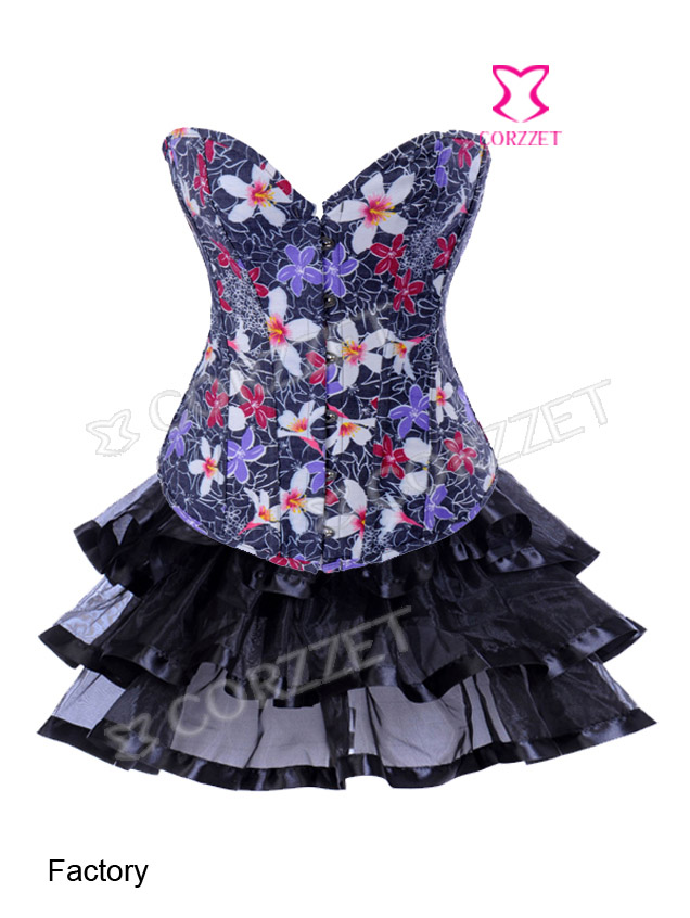 2830S# Floral Printed Denim Corset with Tutu Skirt