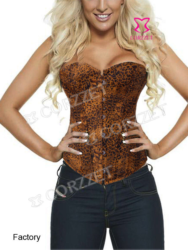 2818# Sexy Brown Leopard Printed Corset