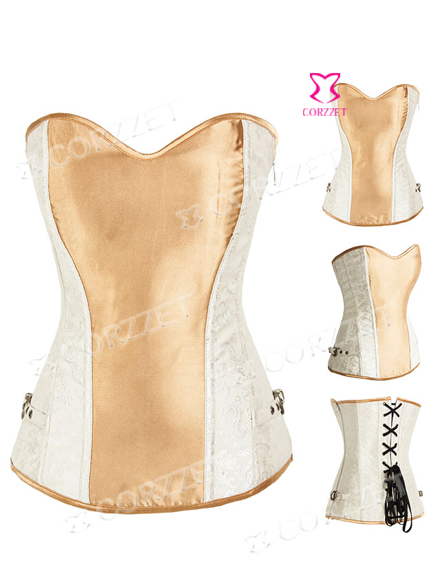 2032# Vintage Beige Jacquard and Satin Overbust Zipper Corset