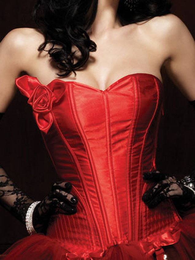 H3835# Sexy Floral Appliques Red Satin Overbust Boning Corset