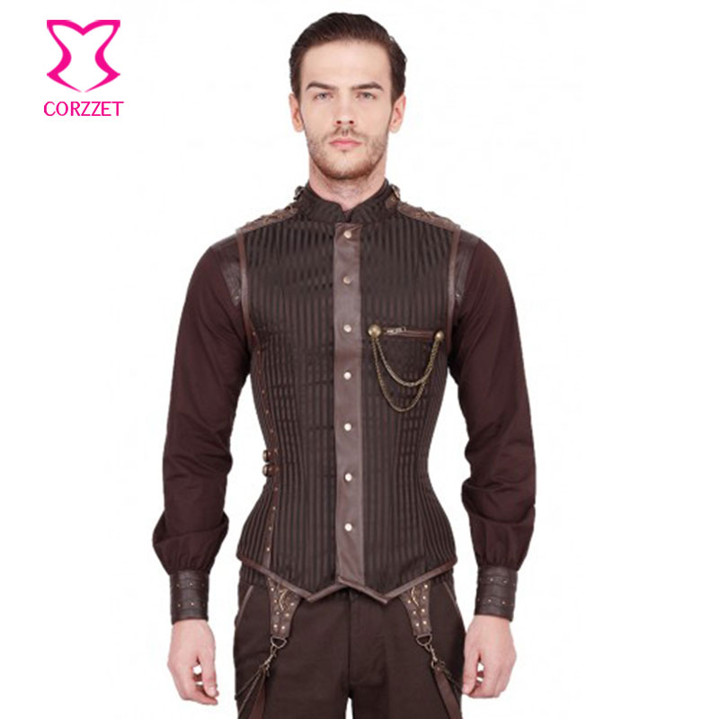 21623# Mens Overchest Steampunk Corset Waistcoat Gothic Clothing Brown