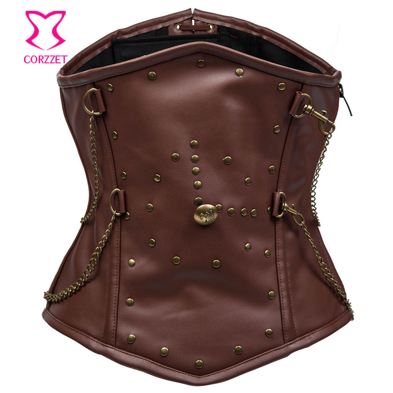 21621# Brown Faux Leather Steampunk Corset For Men Waistcoat