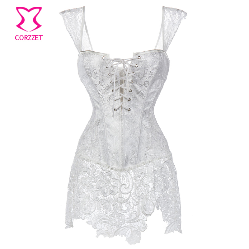 H3860# White Paisley Pattern Brocade and Venice Lace Plus ...